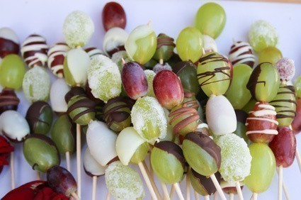 brochettes raisin choco